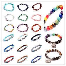 Men Women Natural Lava Rock Agate Gemstone Beads Bracelet Buddha Charm Bracelet
