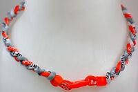 """NEW! 20"""" Custom Clasp Braided Sports Orange Gray White Grey Tornado Necklace"""