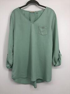 Soft Surroundings Womens Tencel Tunic Size Medium Light Blue Green 3/4 Sleeves