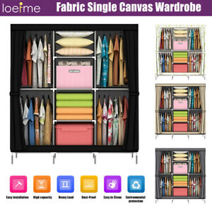 Portable Clothes Closet Wardrobe Storage Cloth Organiser Unit Shelf Rack hanger