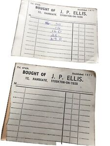 Two Vintage Receipt Book Pads J P Ellis Stockton On Tees Ephemera Crafting Craft