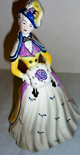 "Goldscheider Lady Figurine, Hands In Muff, Purple, Grey, Yellow 8"" Tall Vintage"