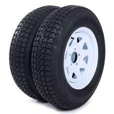 "(2) Trailer Tires & Rims ST205/75D15 F78-15 205/75-15 15"" LRC 5 Lug White Spoke"