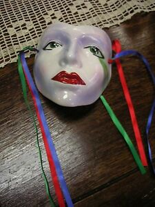 "Harlequin Ceramic Mask Green Eyes Blue Lavender Accents 6x7"" Very Good Condition"