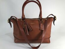 COACH LEGACY MOLLY 21132 East/West Leather Satchel Cognac w/ Tassels