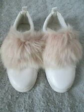 Primark- White/Pink Faux Fur Velcro Fastening Trainers, Uk 5-38 Used