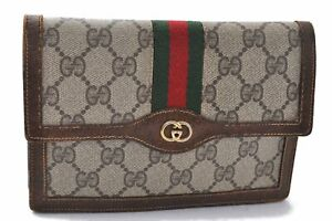 Authentic GUCCI Web Sherry Line Pouch GG PVC Leather Brown C0494
