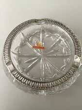 NWOT  VINTAGE HAND CUT LEAD CRYSTAL & SILVER ASHTRAY