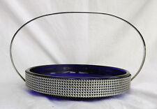 Vintage Retro Cobalt Blue Glass & Chrome Serving / Cake Platter - 1950s - 1960s