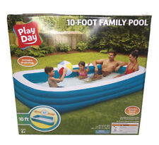 "New Play Day Inflatable 10 Foot Rectangular Family Pool 120""x72""x22"""