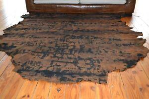 NEW Cowhide Rug Suede Leather Brown black large XL western cowboy cowgirl tan