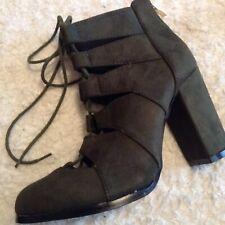 C' M PARIS Khaki Faux Suede Laced Boots Size 6(39) NEW.