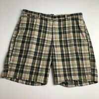 Chaps Men's Flat Front Casual Shorts 38 Multicolor Plaid Zipper Fly Pockets