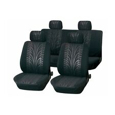 Universal Sports Tyre Mark Thread Black Car Seat Covers 8 Piece