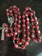 Catholic Rose 10mm Red Murano Millefiori Glass Rosary Crucifix, Italy
