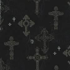 Fat Quarter Ornate Crosses Gothic Design Cotton Quilting Fabric  50cm x 55cm