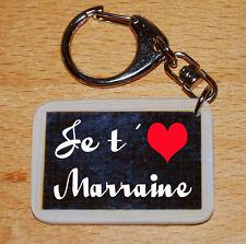Porte-cles style ardoise d'écolier message «Je t'aime Marraine»