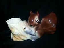 vintage glossy brown big tailed squirrel planter