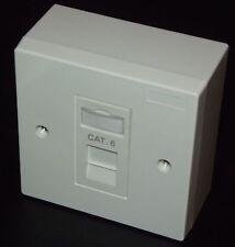2x cat6 rj45 PIASTRA SINGOLA FACCIA & Backbox (1 porte Presa di rete Gigabit)