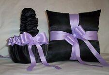 Black Satin / Lavender Trim Flower Girl Basket & Ring Bearer Pillow