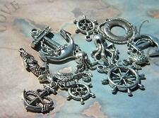 1 Dozen NAUTICAL Charms 12 Ast ANCHORS Helms MERMAID Octopus Life Ring SEAHORSE