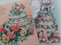 2 Vtg 1940-50s Fancy CAKE Wedding & Anniversary BRIDE GROOM Bells GREETING CARDS