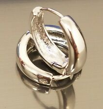 New Sterling Silver 925 Classy High Polish Smooth Hinged Hoop Earrings