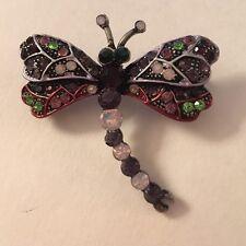Pink Enamel Purple Opal Purple Green Crystal Silver Plate Dragonfly Pin Brooch