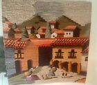 """VTG Hand Woven Coiled Wool Peru Village Colorful 37""""X37"""" Wall Hanging Tapestry"""