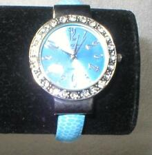 Watch BLUE  moc-Croc leather look Bracelet Clamper Clamp style  NWT NEW
