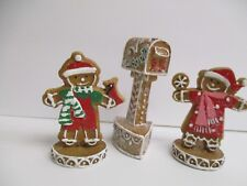 Set of 3 Sugared Gingerbread Cookie Mailbox Candy Christmas Village decor