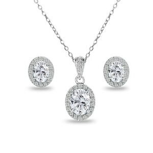 Oval Halo Created White Sapphire & Topaz Necklace & Stud Earrings Set in Silver