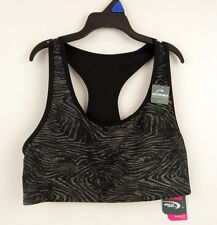 MTA Racerback Sports Bra LARGE Dri Wick Compression Reversible BLACK GRAY (C73)