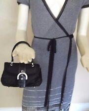Coach Madison Black Satin & Suede Evening Bag With Swarovski Crystals # 8975
