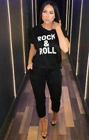 womens rock & roll Short Sleeve Boxy Lounge Wear Tracksuit 2Pc Set Jogsuit 8-14