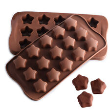 Silicone 15pcs 3D Star Chocolate Mould Candy Cookies Wax Melt Icing Baking Mold