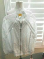 Ruby Rd. Size M White Burnout Zip Front Jacket Top NWT