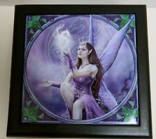 "Anne Stokes Collection Art Tile Wooden Box ""Celtic Fairy"" Ack Nemesis Now New"