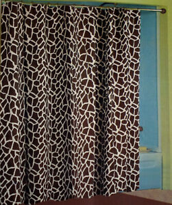 "New Royal Bath Giraffe Animal Print Cotton Fabric Shower Curtain 72"" W X 72"" L"