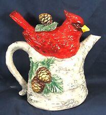 Cardinal in a Birch Tree Porcelain Tea Pot Wildlife Kitchenware