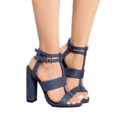 Women High Heel Block Ankle Strap Chunky Sandals Party Dress Pumps Shoes 6-10.5