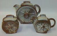 Vintage Frankoma Wagon Wheel Desert Gold Teapot Creamer & Sugar Set 94T