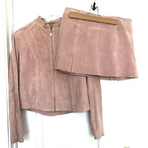 Wilsons Leather Maxima Women's Size S Jacket Lined Skirt 8 Set Blush Pink Flawed