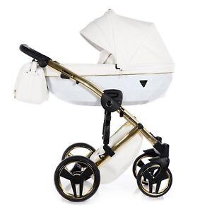 Limited Junama Diamond Individual Line Gold White Baby Pram Pushchair EcoLeather