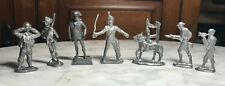 "1 Pewter 6 Lead Vintage Pieces Soldiers on Horse Bugler Rifles Swords 2""-2.5"""