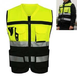 Hi Viz Visibility Safety Vest Waistcoat High Vis with Pockets Yellow UK