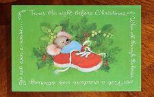Vintage UNUSED Christmas Card MOUSE SLEEPING IN SNEAKER by CLEMENT CLARK MOORE