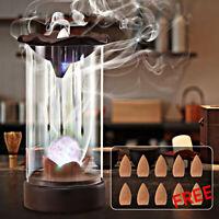 AU Ceramic Smoke Backflow Incense Burner Holder Censer Sandalwood With 10 Cones