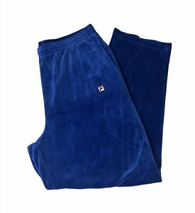 Fila Velour Track Pants Sz XXL 2XL Hip Hop Blue Embroidered Sweat Pants