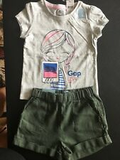 New Baby Gap 3 3T Girls 2 Piece Outfit Linen Shorts Logo Shirt Green Gray